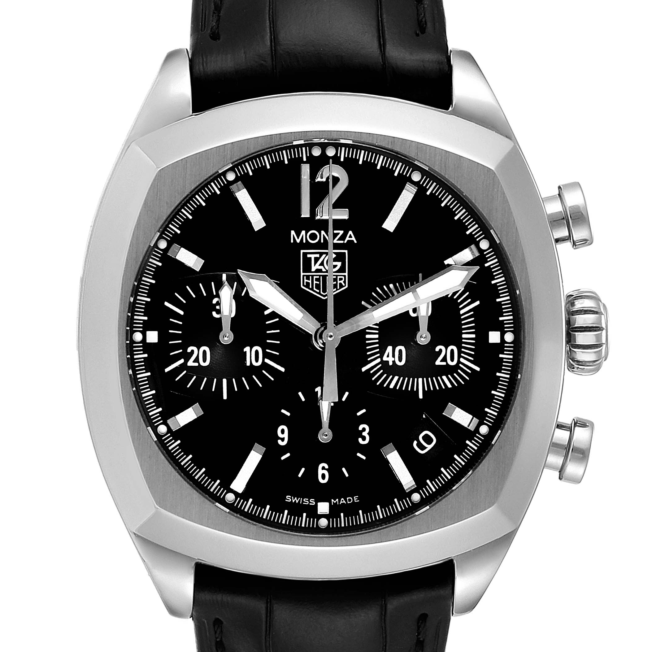 Tag Heuer Monza Black Dial Chronograph Steel Mens Watch CR2113 Box Card SwissWatchExpo