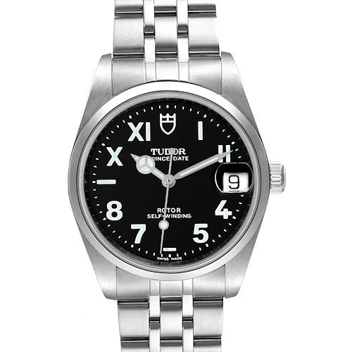Photo of Tudor Prince Date Midsize Black Dial Steel Unisex Watch 72000 Box Papers