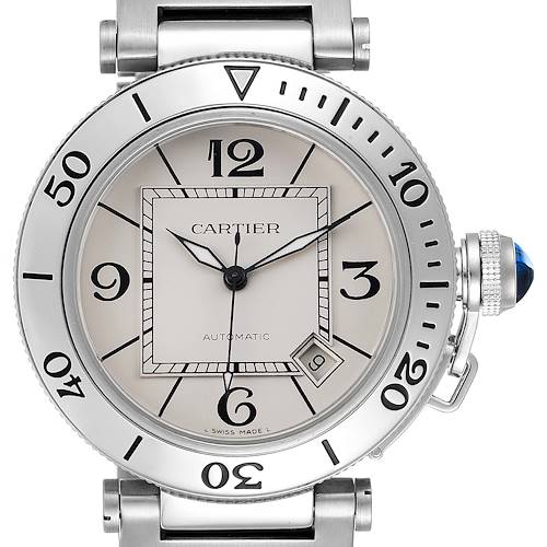 Photo of Cartier Pasha Seatimer Stainless Steel Silver Dial Watch W31080M7 Box Papers