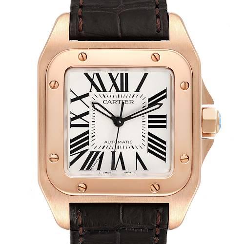 Photo of Cartier Santos 100 Midsize Rose Gold Silver Dial Mens Watch W20108Y1