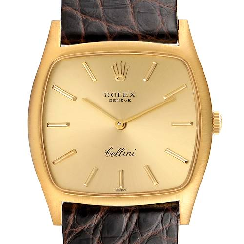 Photo of Rolex Cellini 18k Yellow Gold Brown Strap Mens Vintage Watch 3805