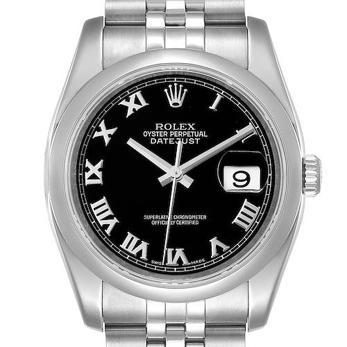 Photo of Rolex Datejust 36mm Black Roman Dial Steel Mens Watch 116200 Box Papers