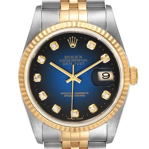 Photo of Rolex Datejust Steel Yellow Gold Vignette Diamond Dial Watch 16233