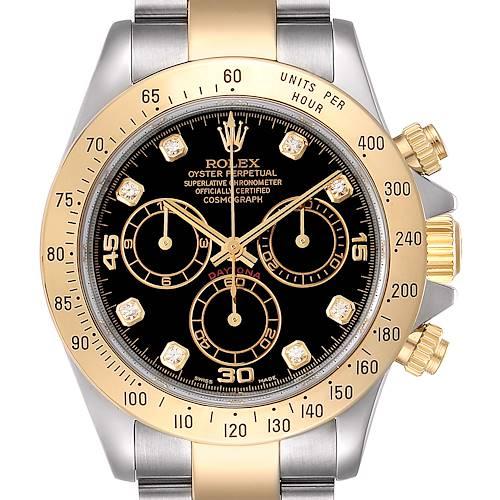 Photo of Rolex Daytona Steel Yellow Gold Diamond Chronograph Watch 116523 Box Papers