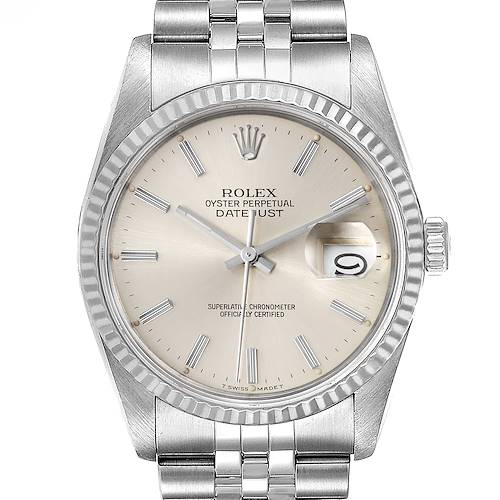 Photo of Rolex Datejust 36 Steel White Gold Silver Dial Mens Watch 16234