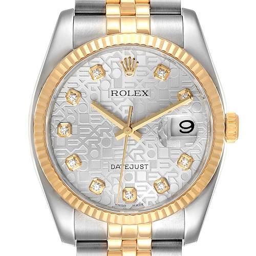 Photo of Rolex Datejust Steel Yellow Gold Diamond Dial Mens Watch 116233 Box Papers