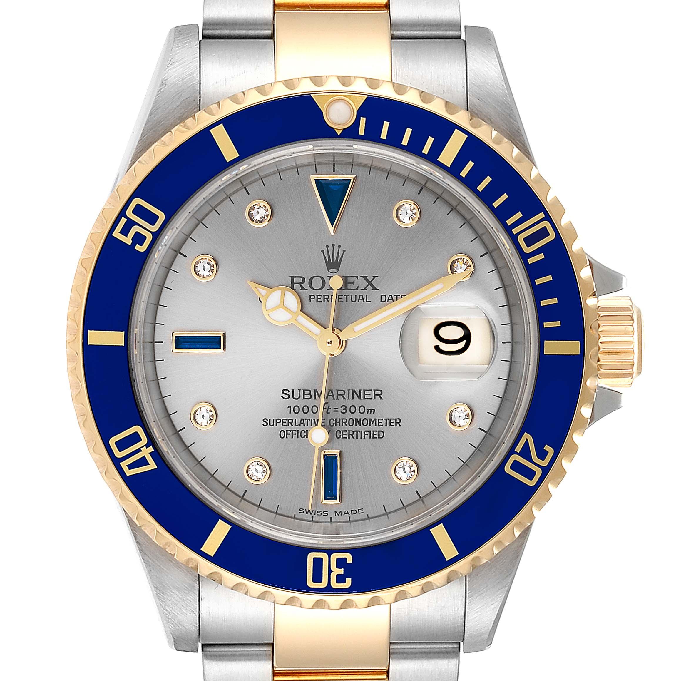 Rolex Submariner Steel Gold Slate Diamond Sapphire Serti Mens Watch 16613