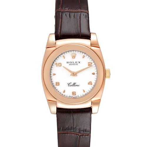 Photo of Rolex Cellini Cestello 18k Rose Gold White Dial Ladies Watch 5310