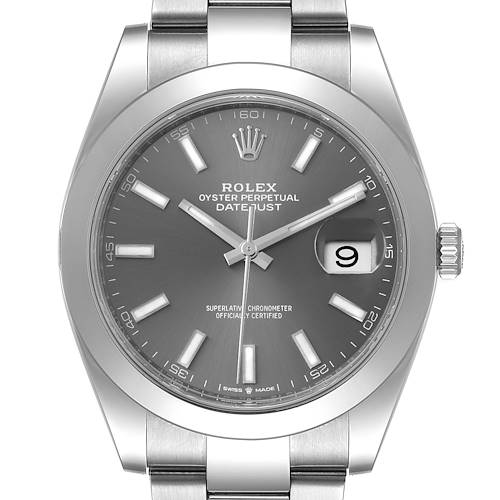Photo of Rolex Datejust 41 Grey Dial Domed Bezel Steel Mens Watch 126300 Box Card