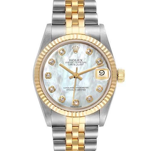 Photo of Rolex Datejust Midsize Steel Yellow Gold MOP Diamond Watch 68273 Box Papers