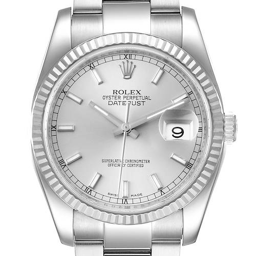 Photo of Rolex Datejust Steel White Gold Silver Dial Mens Watch 116234 Box Papers