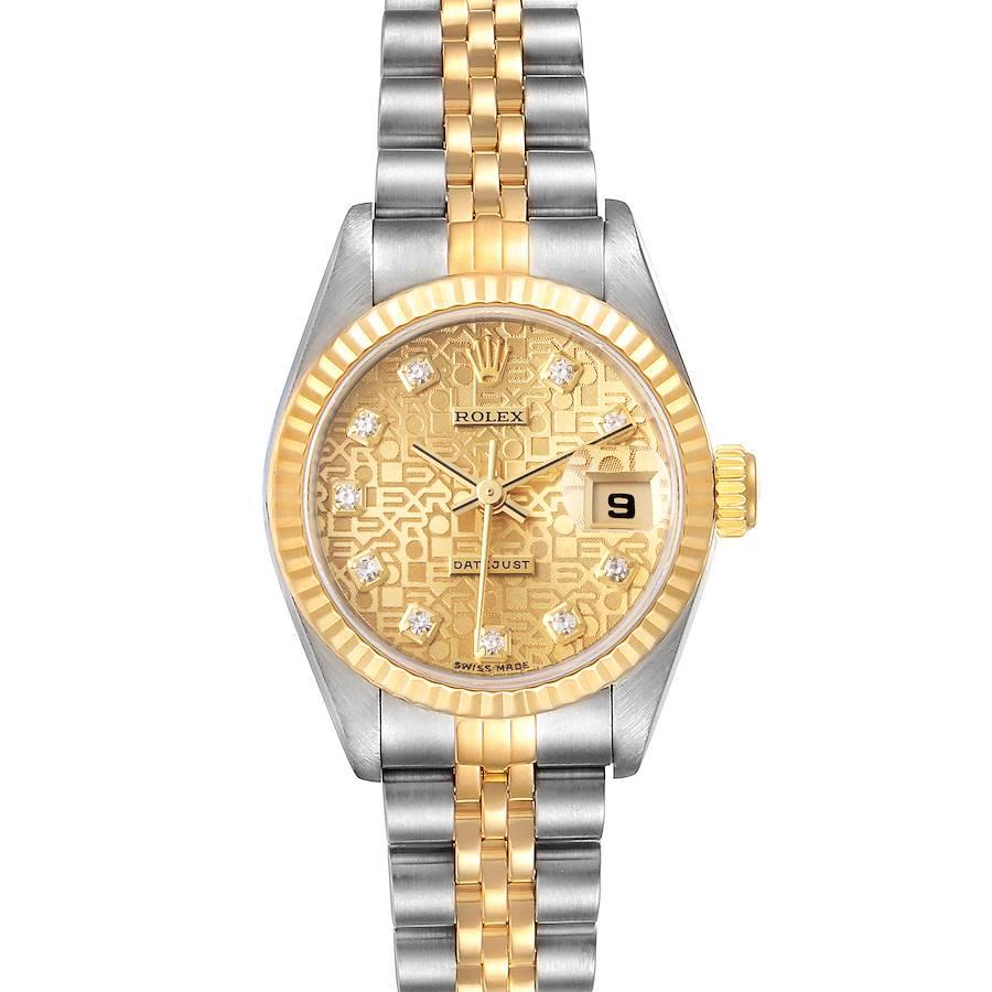 Rolex Datejust Steel Yellow Gold anniversary Diamond Dial Watch 69173 SwissWatchExpo