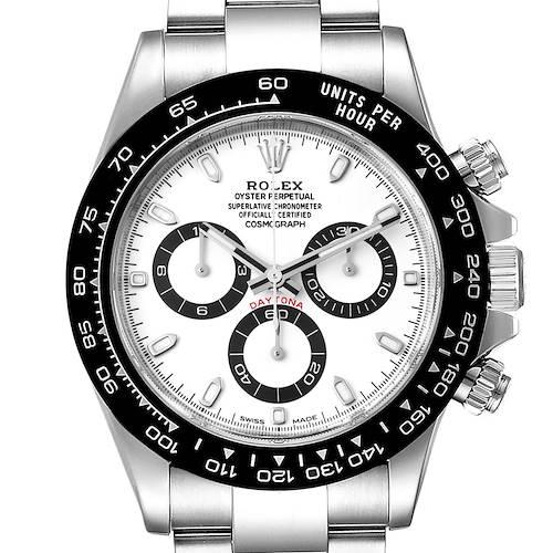 Photo of Rolex Daytona Ceramic Bezel White Dial Steel Mens Watch 116500 Box Card