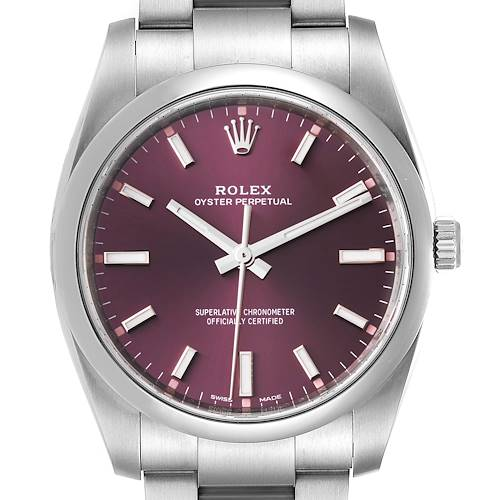 Photo of Rolex Oyster Perpetual 34mm Red Grape Dial Mens Watch 114200 Box Card