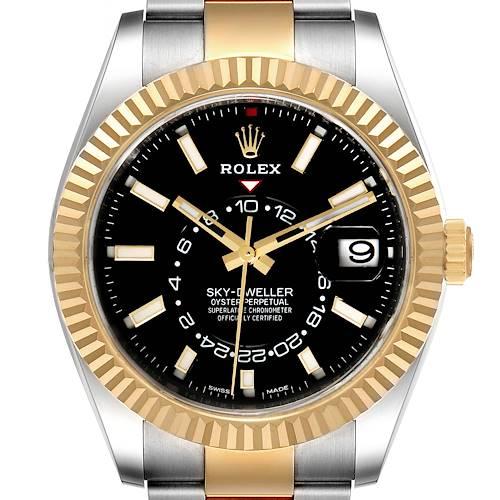 Photo of Rolex Sky Dweller Yellow Gold Steel Black Dial Mens Watch 326933 Unworn