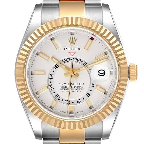 Photo of Rolex Sky Dweller Yellow Gold Steel White Dial Mens Watch 326933 Unworn