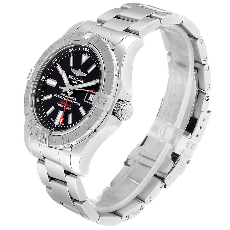 Breitling Aeromarine Avenger II GMT Black Dial Watch A32390 Box Papers SwissWatchExpo