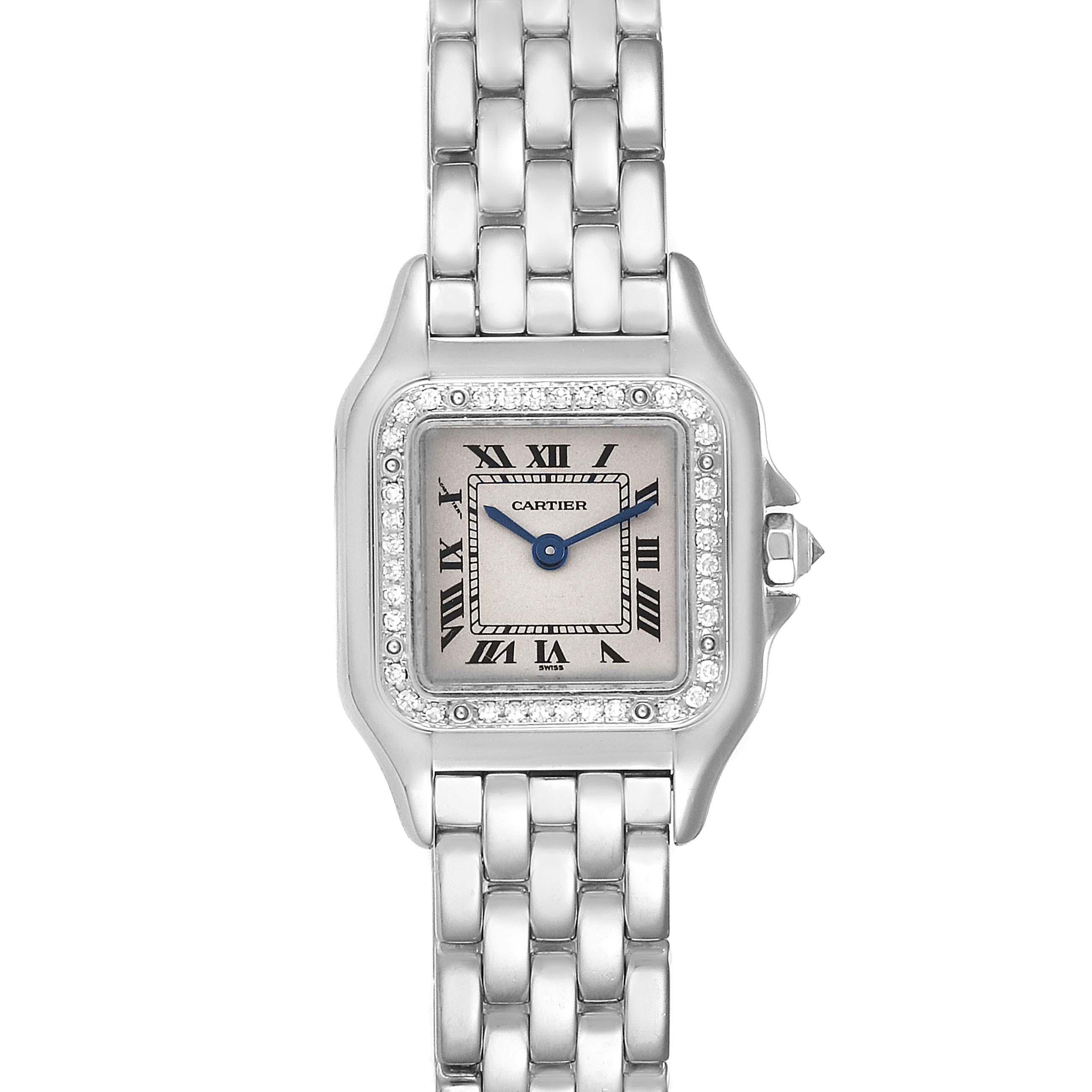Cartier Panthere Ladies 18k White Gold Diamond Watch WF3091F3 SwissWatchExpo