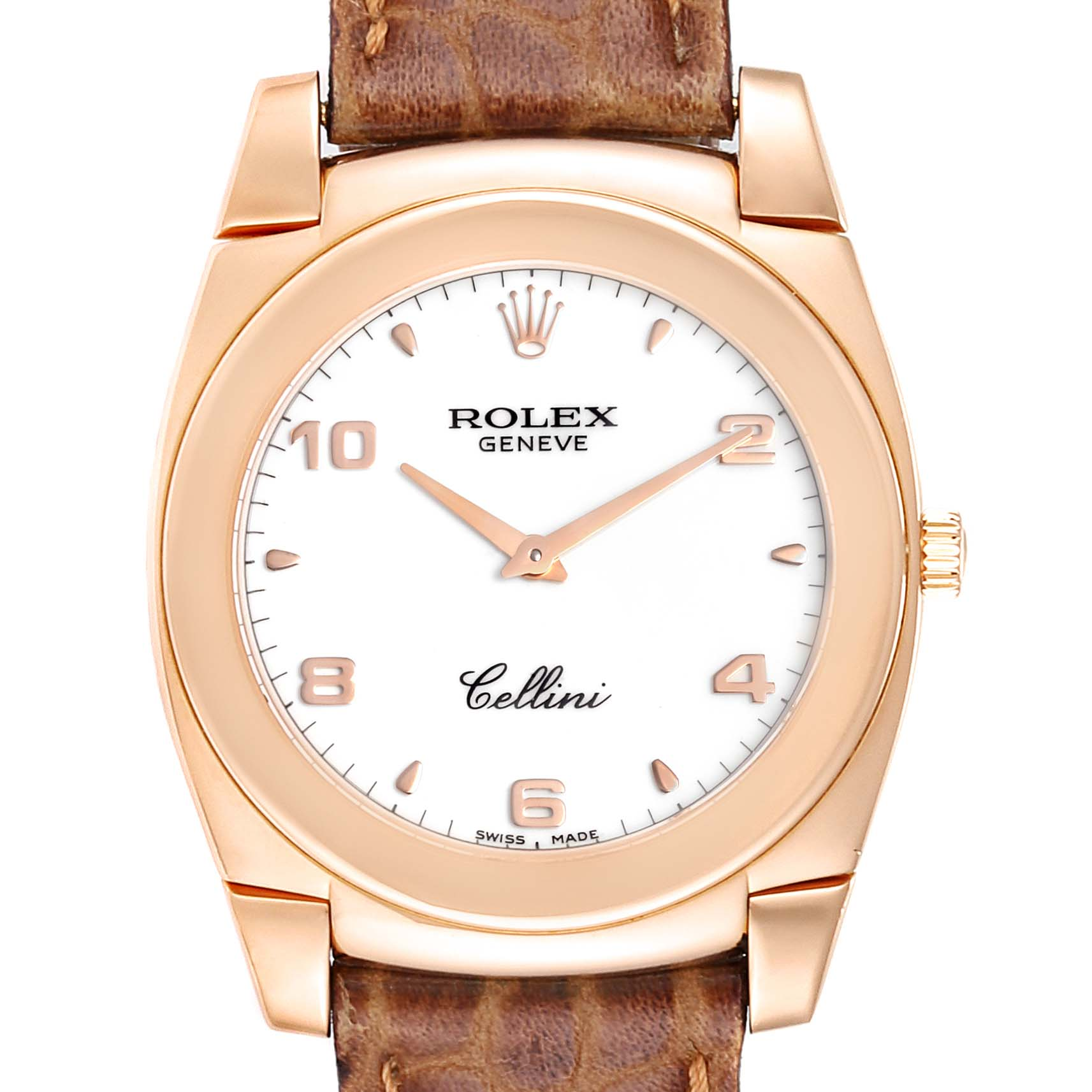 Photo of Rolex Cellini Cestello 18K Rose Gold White Dial Mens Watch 5330