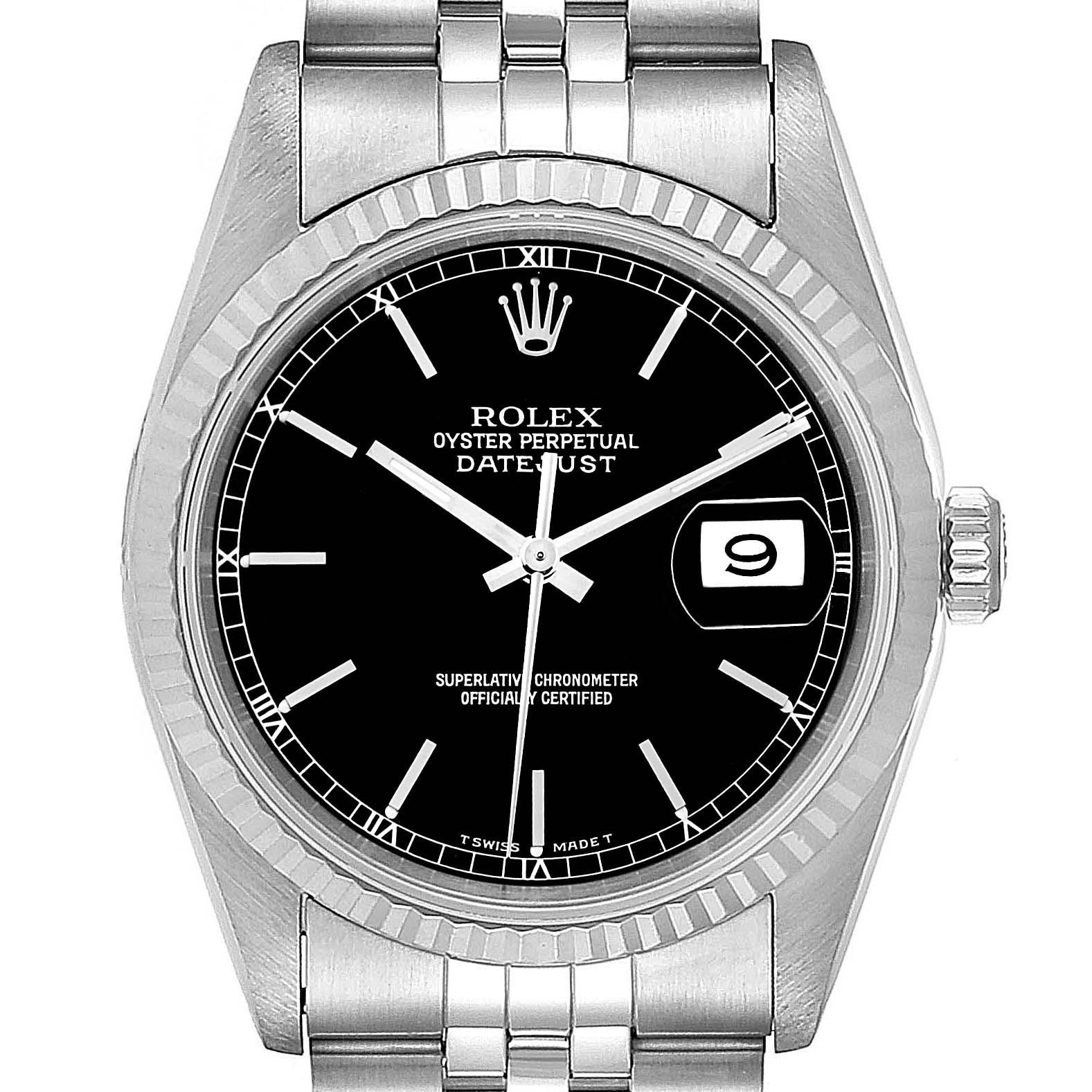Rolex Datejust 36 Steel White Gold Black Dial Mens Watch 16234