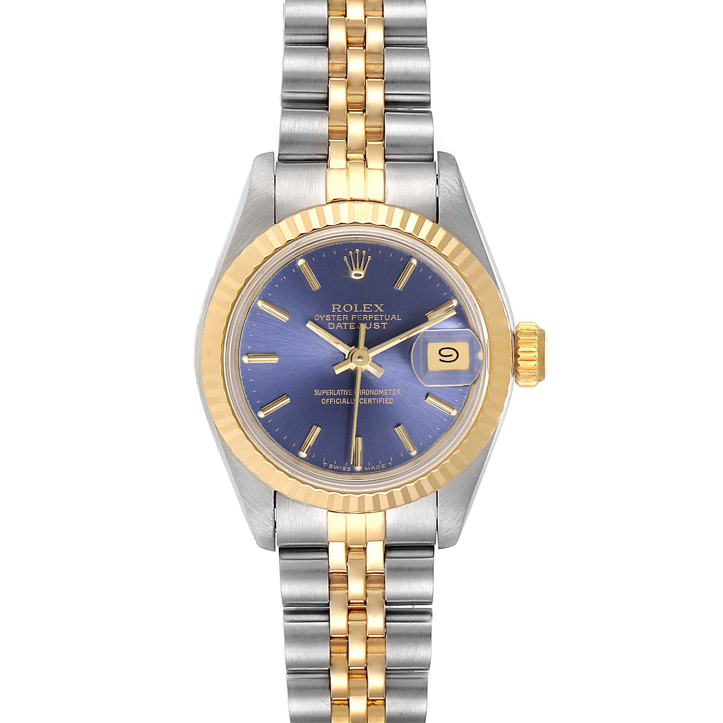 Rolex Datejust Steel Yellow Gold Blue Dial Ladies Watch 69173 SwissWatchExpo