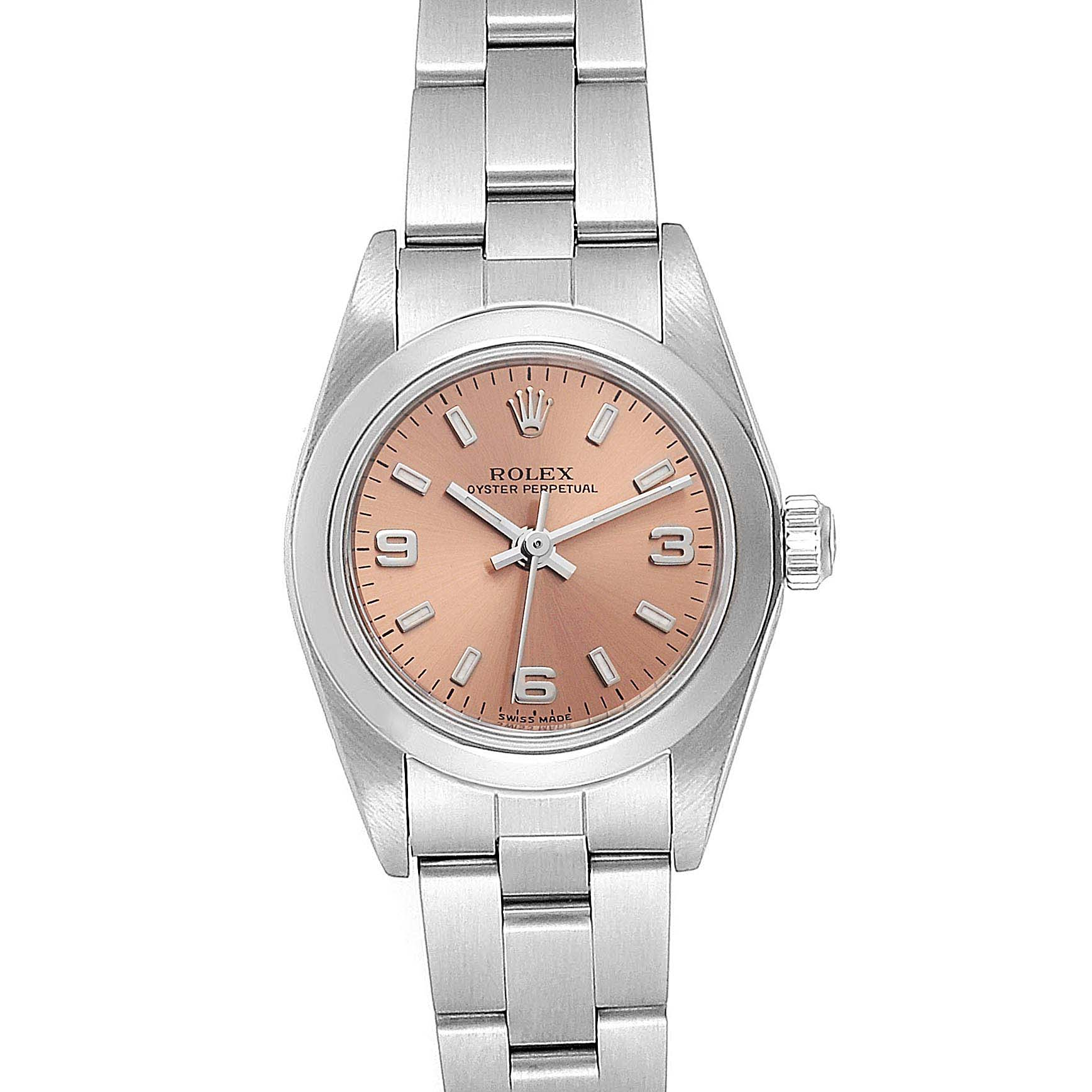 Rolex Oyster Perpetual 2 Salmon Dial Ladies Watch 76080 Box Papers
