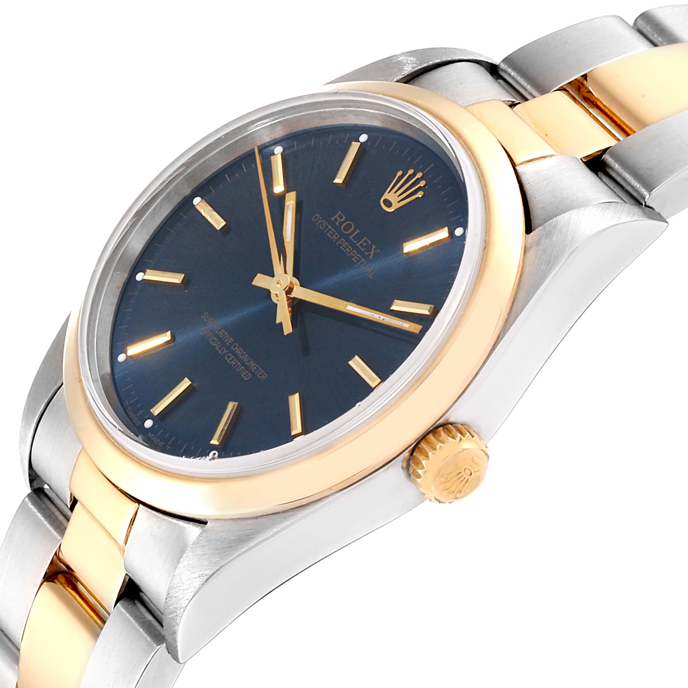 Rolex Oyster Perpetual Steel Yellow Gold Mens Watch 14203 Box Papers SwissWatchExpo