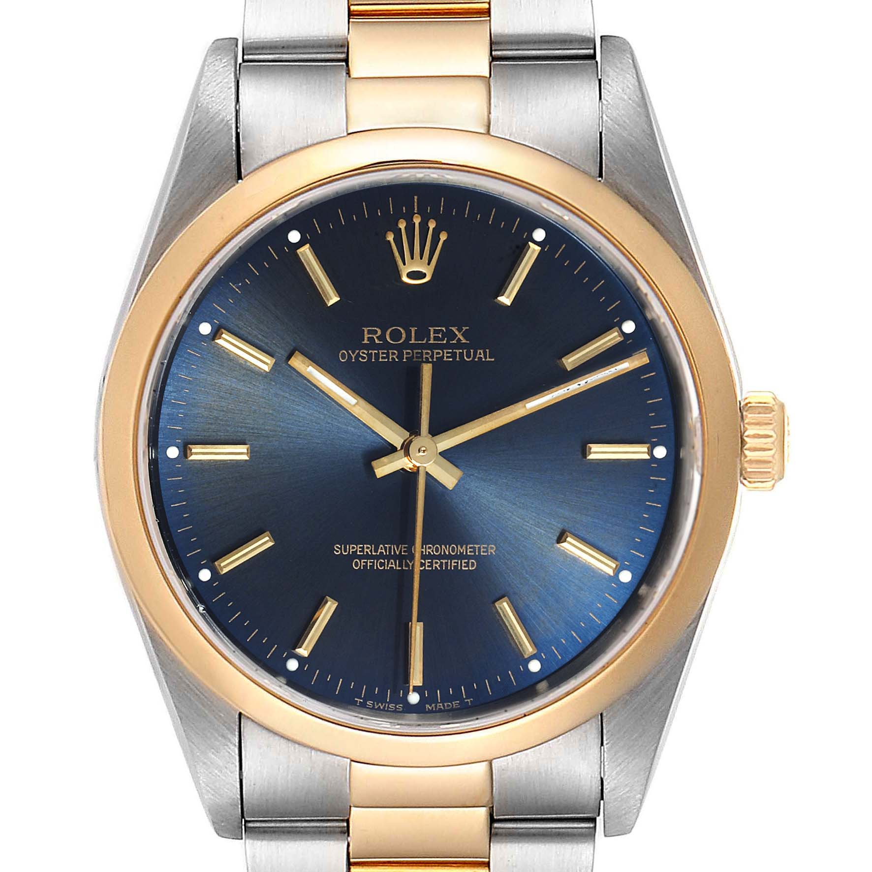 Rolex Oyster Perpetual Steel Yellow Gold Mens Watch 14203 Box Papers