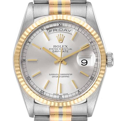 Photo of Rolex President Day-Date Tridor White Yellow Rose Gold Mens Watch 18239