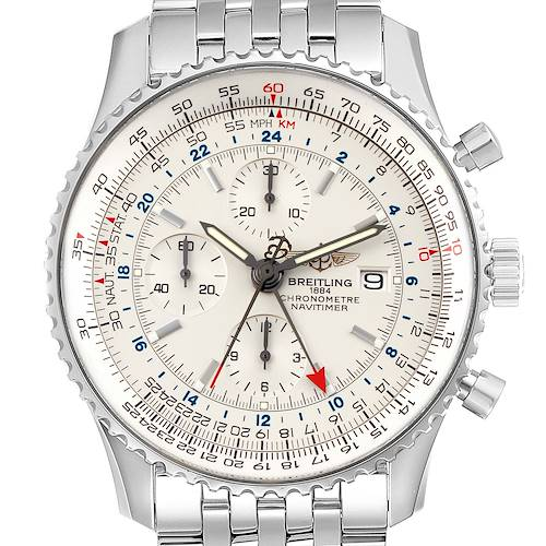 Photo of Breitling Navitimer World Silver Dial Steel Mens Watch A24322 Box Papers