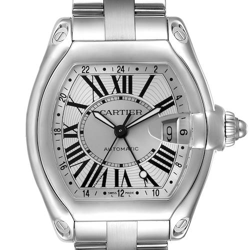 Photo of Cartier Roadster GMT Silver Dial Stainless Steel Watch W62032X6 Box Papers