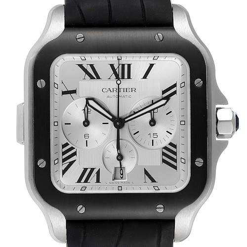 Photo of Cartier Santos 100 XL Chronograph Steel Rubber Watch WSSA0017 Box Card
