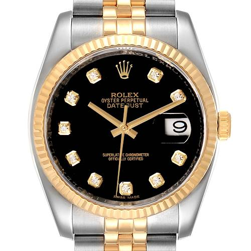Photo of Rolex Datejust 18k Steel Yellow Gold Black Diamond Mens Watch 116233