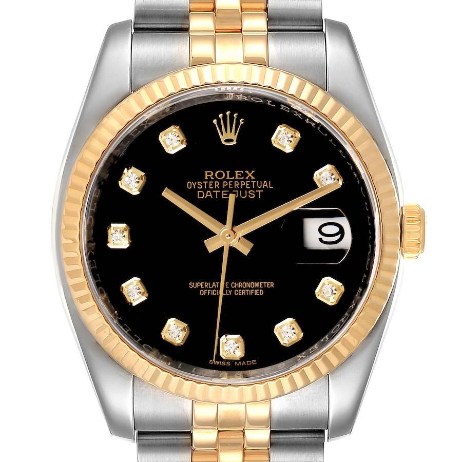 Rolex Datejust 18k Steel Yellow Gold Black Diamond Mens Watch 116233 SwissWatchExpo