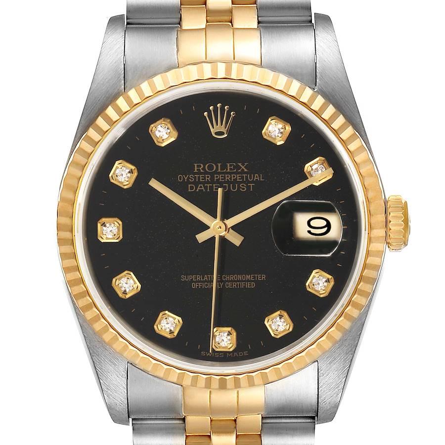 Rolex Datejust 18k Steel Yellow Gold Black Diamond Mens Watch 16233 SwissWatchExpo