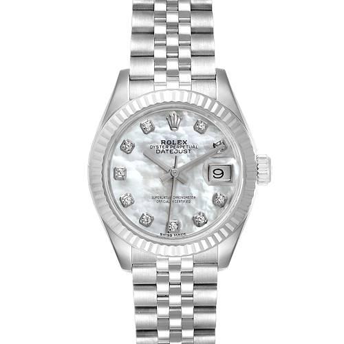 Photo of Rolex Datejust 28 Steel White Gold MOP Diamond Ladies Watch 279174