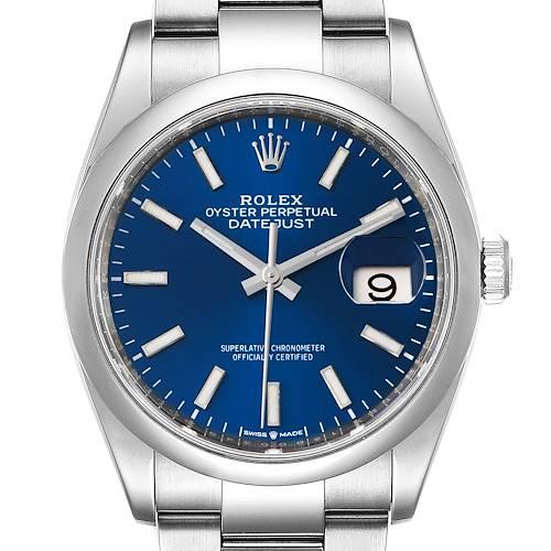 Photo of Rolex Datejust 36 Blue Dial Domed Bezel Steel Mens Watch 126200