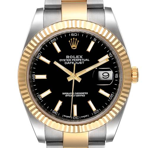 Photo of Rolex Datejust 41 Steel Yellow Gold Black Dial Mens Watch 126333 Box Card