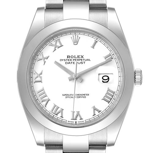 Photo of Rolex Datejust 41 White Dial Stainless Steel Mens Watch 126300 Box Card