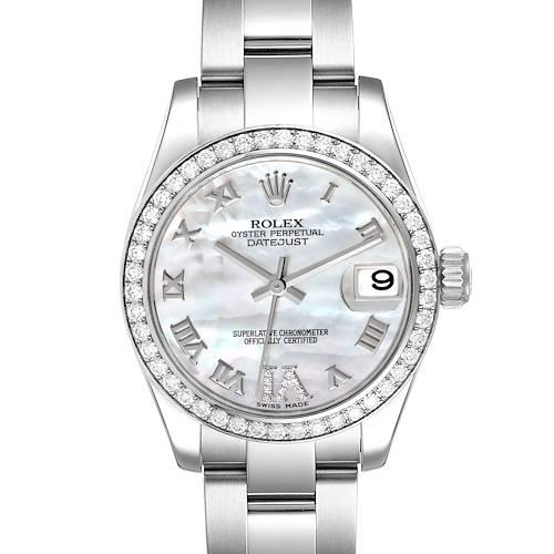 Photo of Rolex Datejust Midsize Steel White Gold MOP Diamond Watch 178384 Box Card