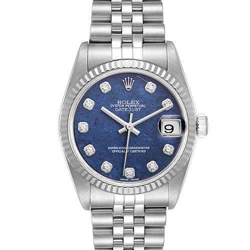 Photo of Rolex Datejust Midsize Steel White Gold Sodalite Diamond Dial Watch 78274