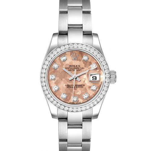 Photo of Rolex Datejust Steel Pink Gold Crystal Diamond Ladies Watch 179384 Box Card