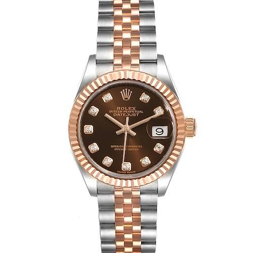 Photo of Rolex Datejust Steel Rose Gold Chocolate Diamond Watch 279171 Box Card