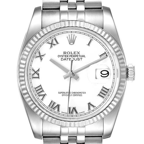 Photo of Rolex Datejust Steel White Gold White Roman Dial Mens Watch 116234
