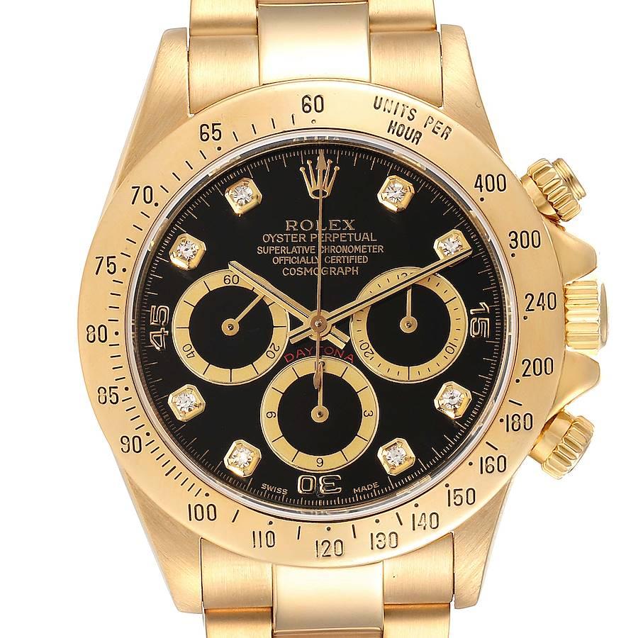 Rolex Daytona 18k Yellow Gold Inverted 6 Diamond Dial Mens Watch 16528 SwissWatchExpo