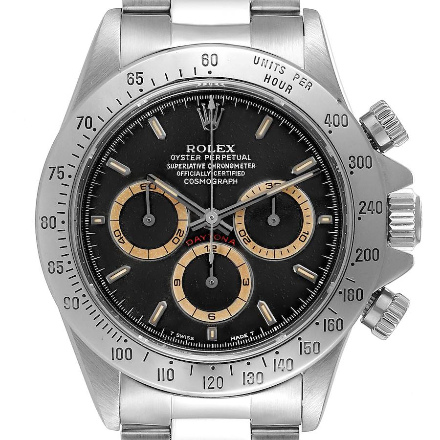 Rolex Daytona Black Patrizzi Dial Steel Mens Watch 16520 Box Service Card SwissWatchExpo