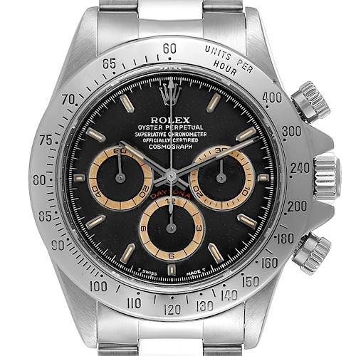 Photo of Rolex Daytona Black Patrizzi Dial Steel Mens Watch 16520 Box Service Card