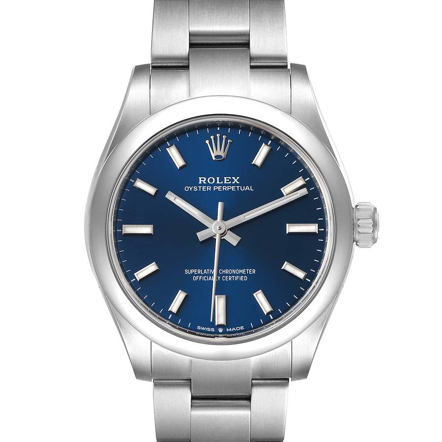 Rolex Midsize 31mm Blue Dial Automatic Steel Ladies Watch 277200 Unworn SwissWatchExpo