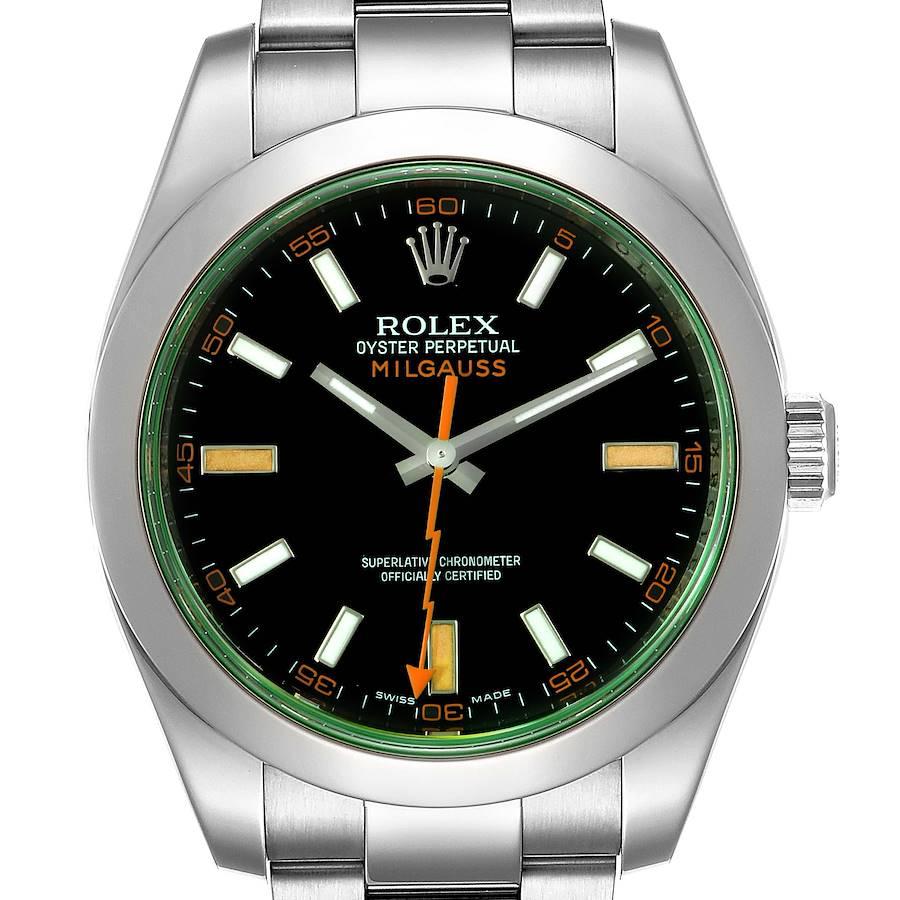 Rolex Milgauss Black Dial Green Crystal Steel Mens Watch 116400V Box Card SwissWatchExpo
