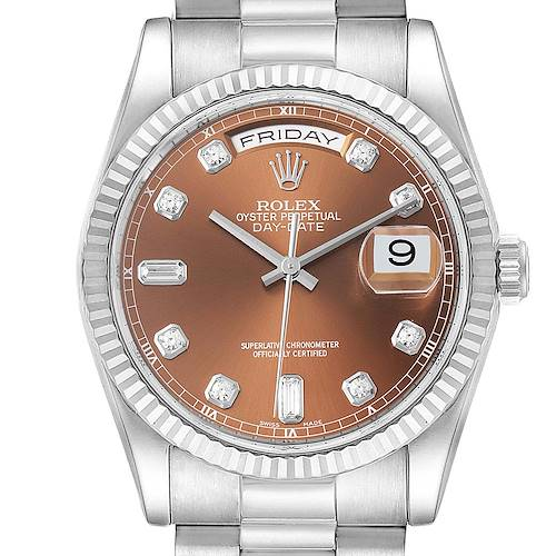 Photo of Rolex President Day-Date White Gold Bronze Diamond Dial Mens Watch 118239
